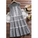 Fashion Sleeveless Lace Insert Plaid Printed Buttons Embellished Midi A-Line Dress