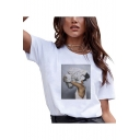 Popular Floral Figure Pattern Round Neck Short Sleeve White T-Shirt