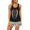 Sexy Cool Skull Figure Unicorn Printed Round Neck Sleeveless Hollow Out Back Tank