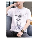 Mens Street Style Figure Letter Printed Round Neck Short Sleeve Cotton Leisure T-Shirt
