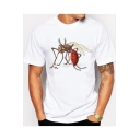 Men's White Funny Mosquito Pattern Short Sleeve Basic Casual T-Shirt