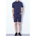 Mens Summer Stylish Vertical Striped Printed Short Sleeve Drawstring Waist Hair Stylist Suits Rompers