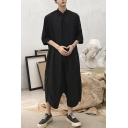 Mens New Stylish Solid Color Half-Sleeved Stand Collar Hip Hop Style Harem Baggy Jumpsuits Coveralls
