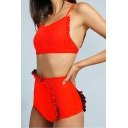 New Trendy Ruffle Trim Spaghetti Strap Red Tied Back Bikini