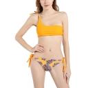 New Stylish Tropical Leaf Pattern One Shoulder Bikini Swimwear