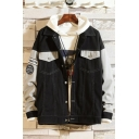 Unique Cool Letter Code Embroidery Fashion Colorblock Work Jacket Denim Jacket for Guys