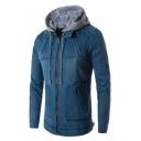 New Trendy Men's Patched Drawstring Hooded Plain Long Sleeve Slim Zip Up Blue Denim Jacket