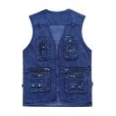 Stylish Multi-Pocket V-Neck Zip Closure Photography Blue Denim Vest