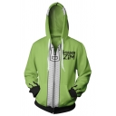 Invader Zim GIR Funny 3D Letter Printed Long Sleeve Zip Front Green Drawstring Hoodie