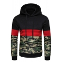 New Fashion Color Block Camouflage Printed Long Sleeve Black Casual Drawstring Hoodie