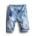 Summer Men's New Stylish Destroyed Ripped Rolled-Cuff Light Blue Fit Jeans Denim Shorts