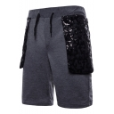 New Stylish Lace Sequin Embellished Drawstring Waist Relaxed Fit Sweat Shorts for Men