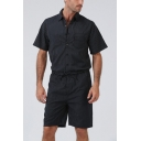 Summer New Trendy Classic Striped Print Short Sleeve Button Placket Tied Waist Casual Rompers for Men
