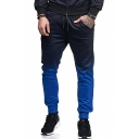 Guys Popular Fashion Ombre Color Block Drawstring Waist Casual Athletic Sport Pants