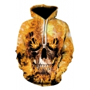 Cool Evil Fire Skull Printed Sport Relaxed Yellow Hoodie