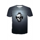 Cool Skull with Earphone Printed Short Sleeve Round Neck Grey T-Shirt