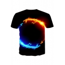Fashion 3D Fire Dragon Pattern Basic Short Sleeve Casual Black T-Shirt for Men