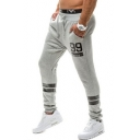 Trendy Number 99 Print Tape Patched Mens Sport Sweatpants