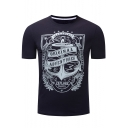 Fashion Letter ORIGINAL ADVENTURER Graphic Print Fitted Royal Blue T-Shirt