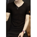 Guys New Stylish V-Neck Breathable Hollow Out Mesh Slim Fit Plain T-Shirt