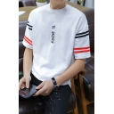 Mens Summer Simple Letter Stripe Short Sleeve Relaxed T-Shirt