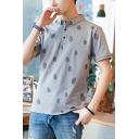 Guys Fashion Allover Polka Dot Printed Short Sleeve Summer Polo Shirt
