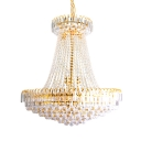 Clear Crystal Bead Hanging Chandelier 5/7 Lights Vintage Light Fixture in Gold
