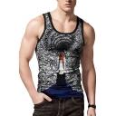 Summer Fashion 3D Black Hole Print Scoop Neck Street Singlet Tank Top for Guys