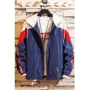 Guys Hip Hop Style Color Block Letter Tape Long Sleeve Hooded Zip Up Track Jacket