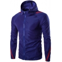 Mens Spring Summer Tape Patched Hooded Windbreaker Sun-Protective Casual Zip Up Jacket