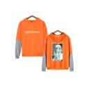 Boy Band New Stylish Kpop Portrait Printed Colorblock Long Sleeve Orange Hoodie