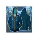 Devil May Cry 3 Comic Cosplay Costume Long Sleeve Zip Up Blue Drawstring Hoodie