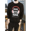 Cool Letter MAKE SOME NOISE Earphone Print Long Sleeve Casual Graphic Sweatshirt