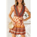 Holiday Summer Ethnic Floral Printed V-Neck Short Sleeve Tied Waist Mini A-Line Dress for Women