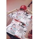 Street Fashion Cartoon Comic Letter Newspaper Print Hip Hop Tunic White T-Shirt