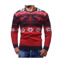 Fashion Christmas Snowflake Deer Print Crewneck Mens Fitted Warm Sweater