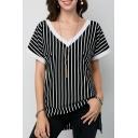 Classic Striped Printed V-Neck Short Sleeve Split Hem Black T-Shirt