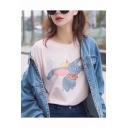Cartoon Lovely Elephant Pattern Round Neck Short Sleeve Unisex T-Shirt