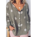 Women's Fashion Polka-Dot Printed Long Sleeve Button Front Loose Fit Shirt