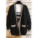 Men's New Trendy Striped Trim Open Front Loose Casual Cardigan with Pocket
