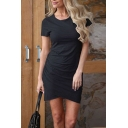Sexy New Trendy Round Neck Short Sleeve Plain Tulip Hem Mini Asymmetric Dress
