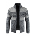Mens New Trendy Color Block Stand Collar Long Sleeve Zip Closure Marled Cardigan