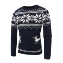 Fashion Christmas Mono Deer Print Long Sleeve Crewneck Fitted Sweater for Men