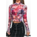 Sexy Transparent Mesh Mock Neck Long Sleeve Cupid Angel Printed Purple Cropped T-Shirt