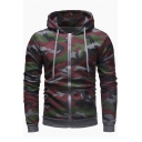 Mens New Fashion Classic Camouflage Printed Long Sleeve Zip Up Drawstring Hoodie