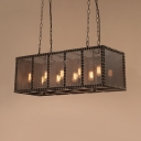 Black Rectangle Island Lamp Rustic Metal Island Pendants with 25.5