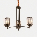 Cylinder Kitchen Chandelier Metal 3/6/8/10 Lights Industrial Hanging Pendant in Black
