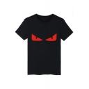 Novelty Monster Devil's Eye Printed Round Neck Short Sleeves Unisex Casual T-Shirts
