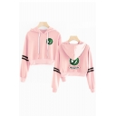 Snake Logo Printed Long Sleeve Casual Sport Cropped Hoodie