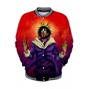 Funny American Rapper Portrait Printed Rib Stand-Collar Button Down Red Baseball Jacket
